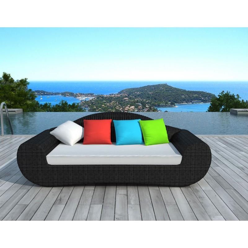 canap de jardin 4 places diana en r sine tress e ronde noir coussins de couleurs. Black Bedroom Furniture Sets. Home Design Ideas
