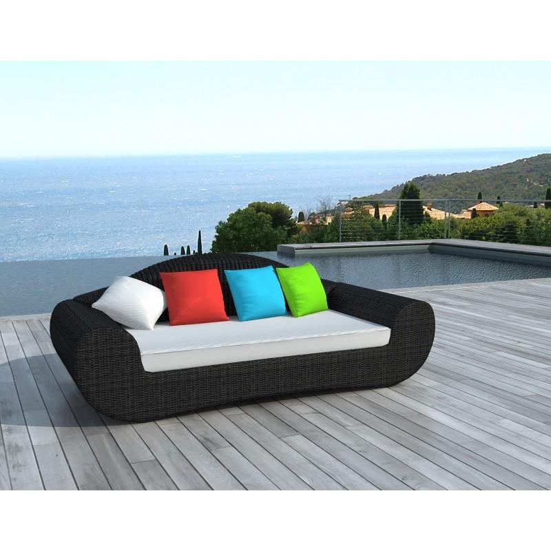 Canapé de jardin 4 places DIANA en résine tressée ronde (noir, coussins de couleurs) - image 29805