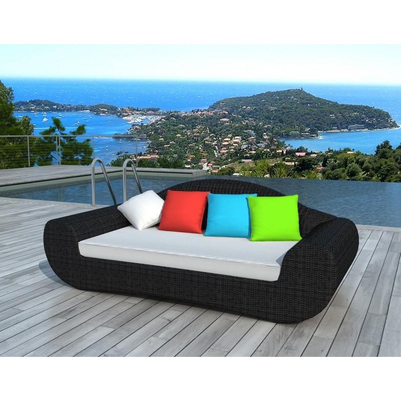 Canapé de jardin 4 places DIANA en résine tressée ronde (noir, coussins de couleurs) - image 29806