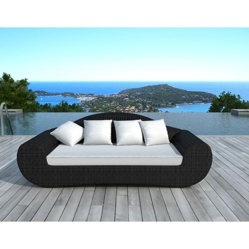 Canapé de jardin 4 places DIANA en résine tressée ronde (noir, coussins blanc/écru) - image 29809