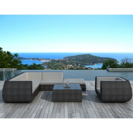 Garden furniture 6 seater Cordoba resin braided half round (gray) - AMP  Story 4103