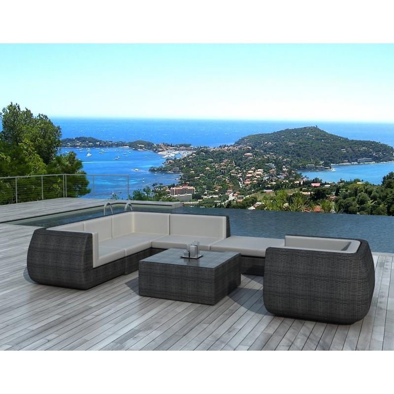 salon de jardin 6 places cordoue en r sine tress e demi. Black Bedroom Furniture Sets. Home Design Ideas