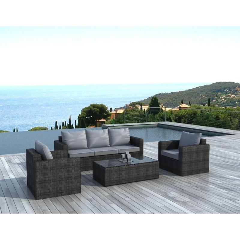 Salon de jardin 5 places TOLEDE en résine tressée ronde (gris) - image 29818