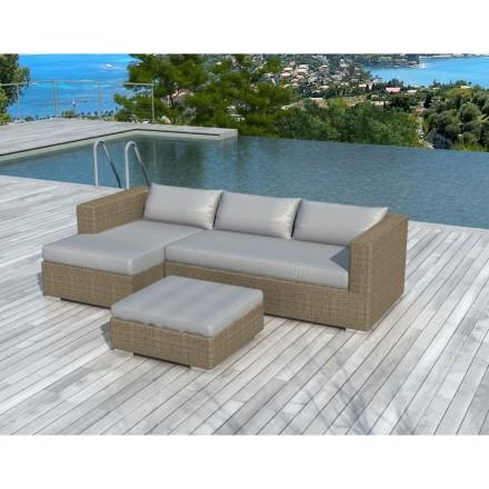 Salon de jardin 4 places BILBAO en résine tressée ronde (beige, coussins  gris clair) - AMP Story 4105
