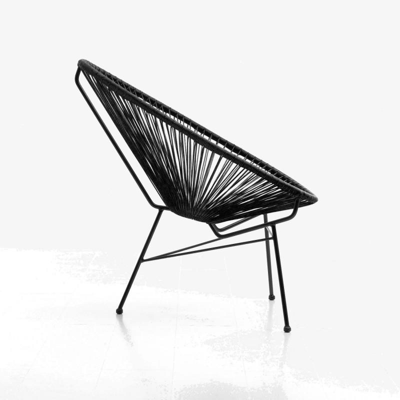 Fauteuil de jardin MAJORQUE en résine tressée ronde (noir) - image 29825