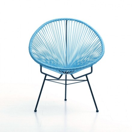 Chair of garden Mallorca round braided resin (blue)