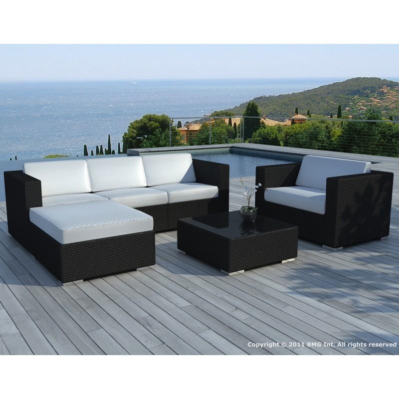 Salon de jardin 5 places SEVILLE en résine tressée (noir, coussins orange) - image 29845