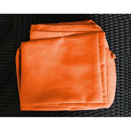 Salon de jardin 5 places SEVILLE en résine tressée (noir, coussins orange)  - AMP Story 4111