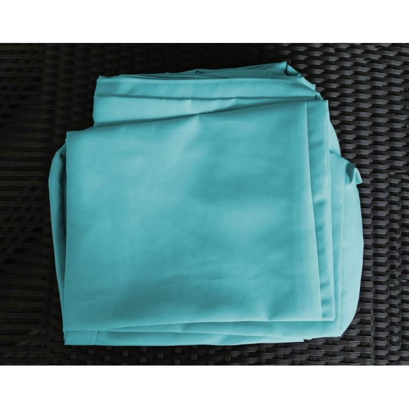 Salon de jardin 5 places SEVILLE en résine tressée (noir, coussins bleu) - image 29849