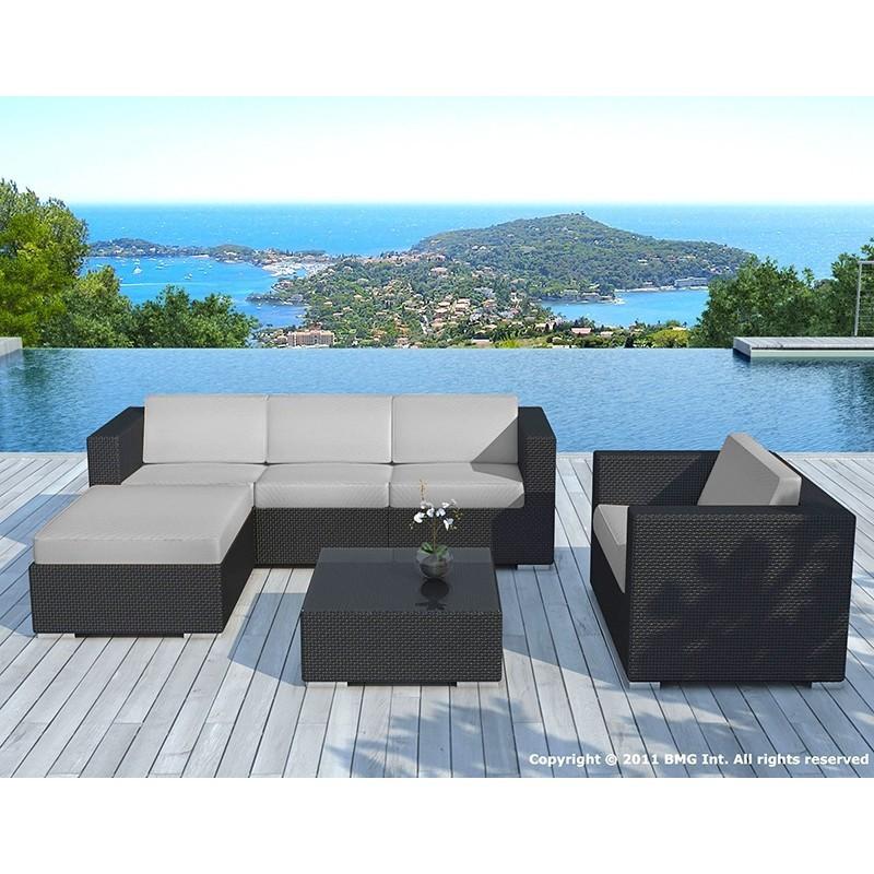 Salon de jardin 5 places SEVILLE en résine tressée (noir, coussins gris) - image 29856