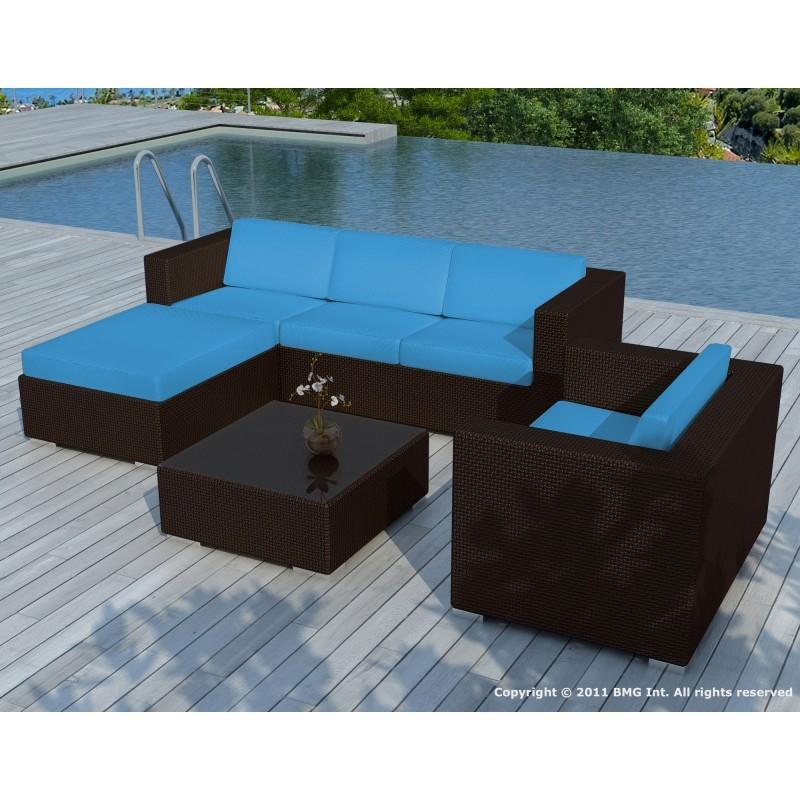 Salon de jardin 5 places SEVILLE en résine tressée (marron, coussins bleu) - image 29867