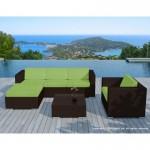 Resina di mobili da giardino 5 piazze SEVILLE intrecciato (marrone, verde cuscini)