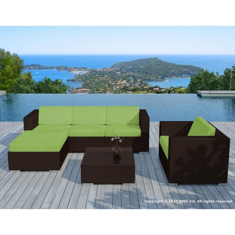 Salon de jardin 5 places SEVILLE en résine tressée (marron, coussins vert) - image 29868