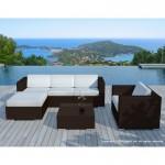 Resina di mobili da giardino 5 piazze SEVILLE intrecciato (marrone, bianco/ecru cuscini)