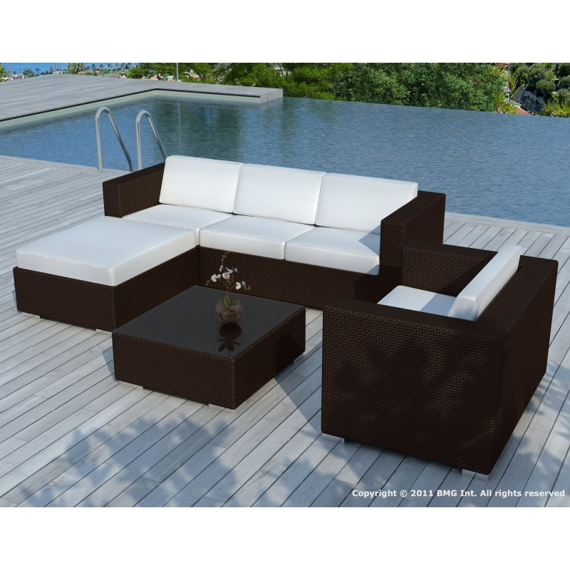 Garden furniture 5 squares SEVILLE resin braided (Brown, white/ecru ...