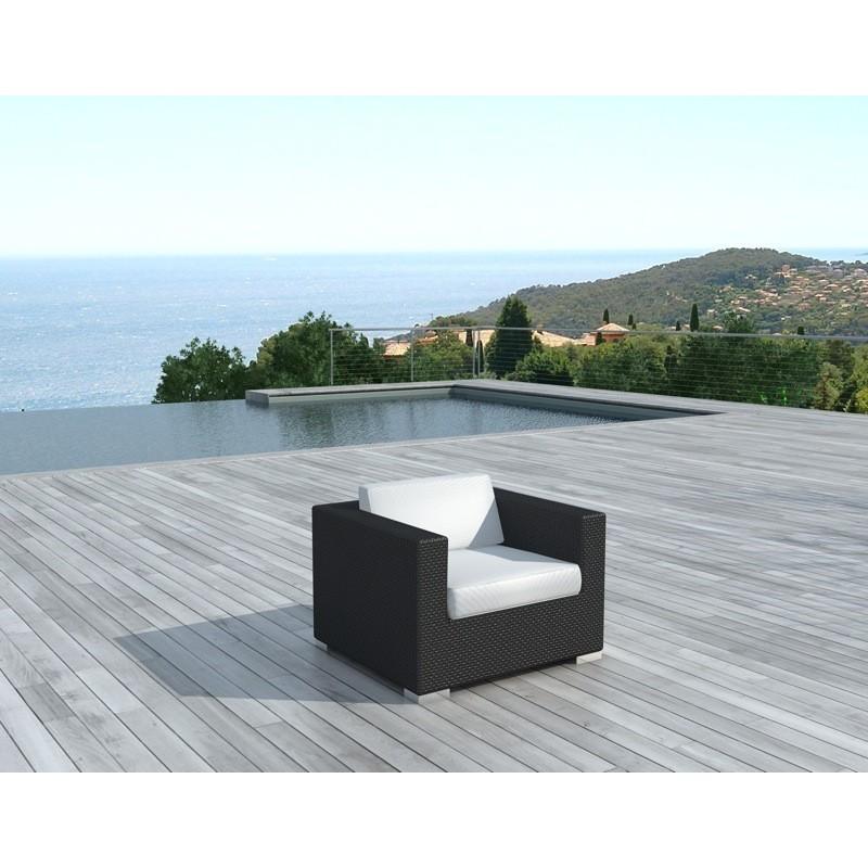 Fauteuil de jardin SALOU en résine tressée (noir, coussins blanc/écru) - image 29885