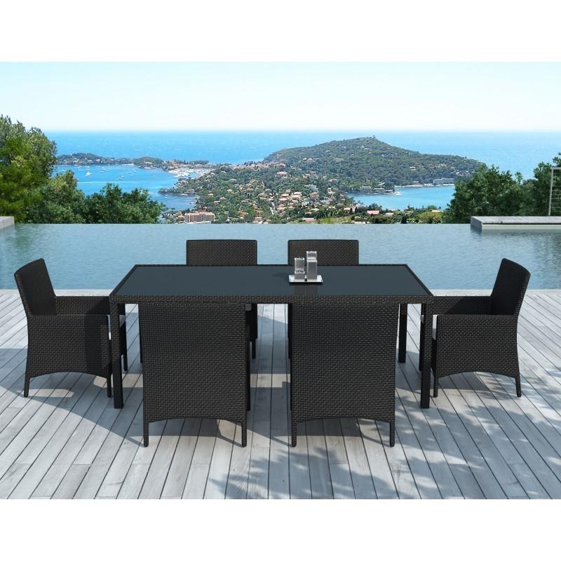 Table à manger et 6 fauteuils de jardin PALMAS en résine tressée (noir, coussins blanc/écru) - image 29893