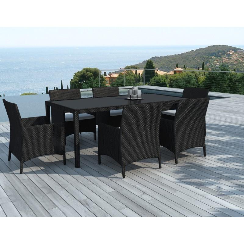 Table manger et 6 fauteuils de jardin palmas en r sine tress e noir coussins blanc cru - Table a manger de jardin en resine ...