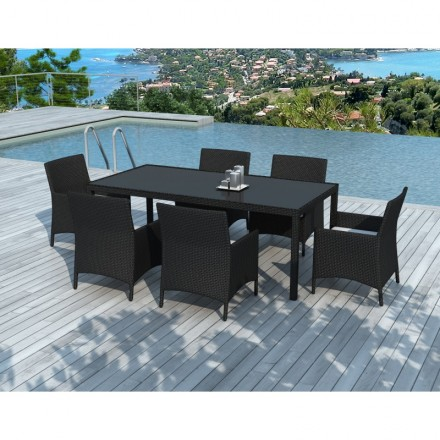 Dining table and 6 chairs garden PALMAS in woven resin (black ...