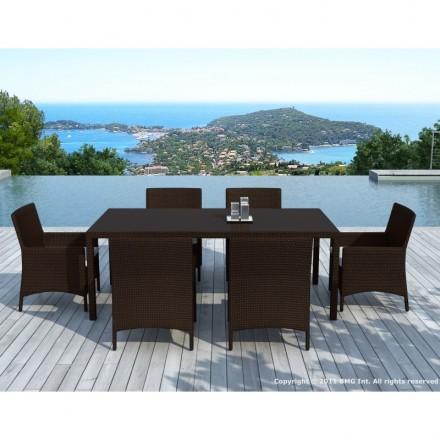 Mesa de comedor y 6 sillas de jardín PALMAS en resina tejida (marrón, blanco/crudo cojines)