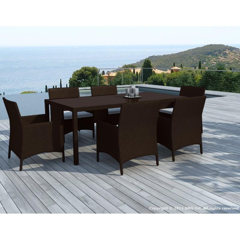 Table à manger et 6 fauteuils de jardin PALMAS en résine tressée (marron, coussins blanc/écru) - image 29898