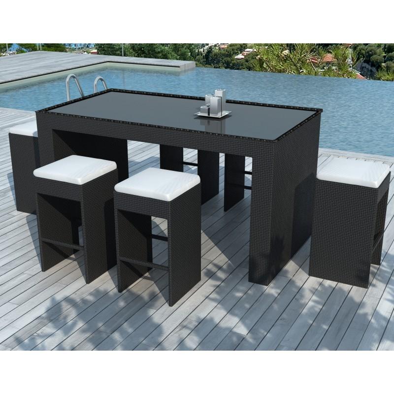 Meuble bar et 6 tabourets de jardin PORTO en résine tressée (noir, coussins blanc/écru) - image 29903