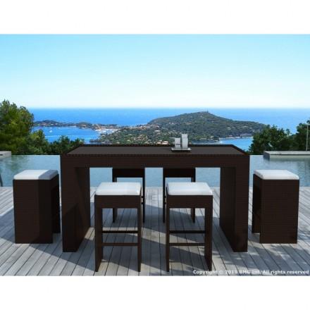 Muebles bar y 6 taburetes de jardín PORTO en resina tejida (marrón, blanco/crudo cojines)