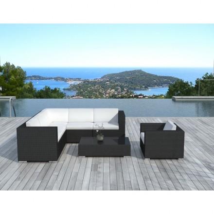 Resina di mobili da giardino 6 posti LAGOS tessuta (neri, bianco/ecru cuscini)