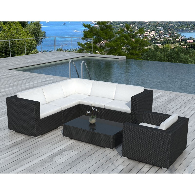 salon de jardin 6 places lagos en r sine tress e noir coussins blanc cru. Black Bedroom Furniture Sets. Home Design Ideas