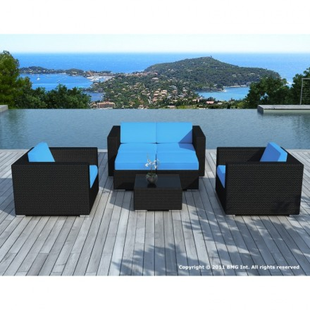 Garden furniture 6 seater KUMBA woven resin (black, blue cushions)