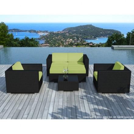 Garden furniture 6 seater KUMBA woven resin (black, green cushions)