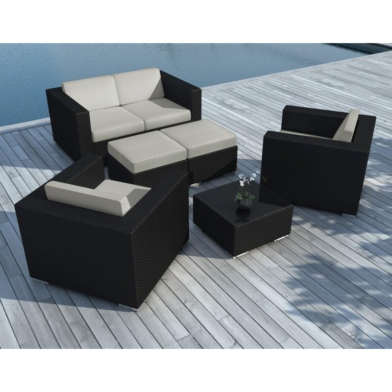 Resina kumba tejido muebles de jard n 6 plazas cojines negros gris for Muebles jardin resina