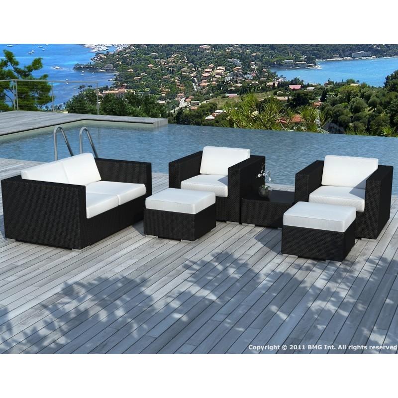 Salon de jardin 6 places KUMBA en résine tressée (noir, coussins blanc/écru) - image 29926