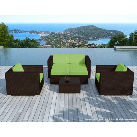 Garden furniture 6 seater KUMBA resin braided (Brown, green cushions) - AMP  Story 4132