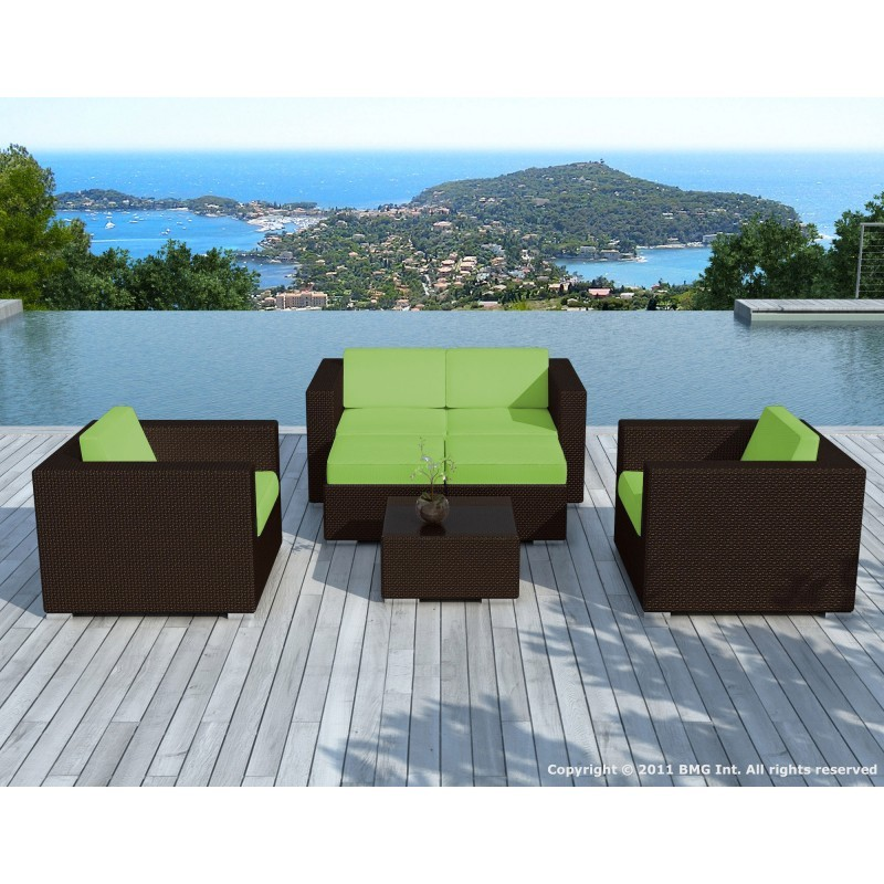 Garden furniture 6 seater KUMBA resin braided (Brown, green cushions) -  Garden Lounge
