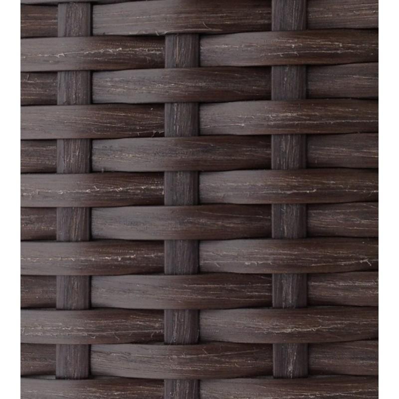Salon de jardin 6 places KUMBA en résine tressée (marron, coussins blanc/écru) - image 29939