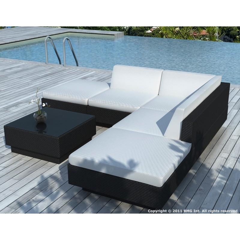 Salon de jardin d'angle 5 places VALENCE en résine tressée (noir, coussins blanc/écru) - image 29942