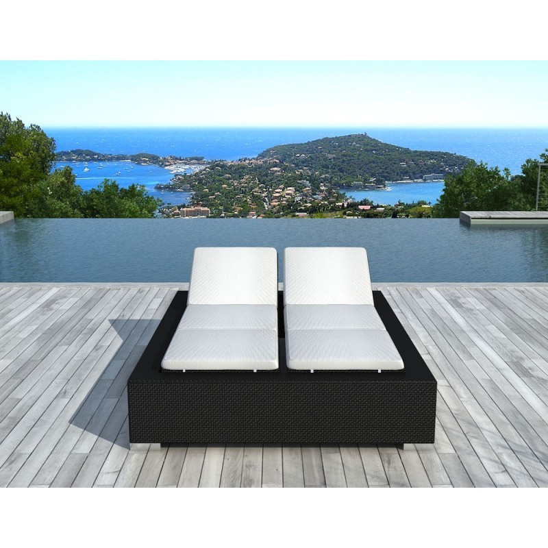 bain de soleil transat 2 places 5 positions cadix en r sine tress e noir blanc cru. Black Bedroom Furniture Sets. Home Design Ideas