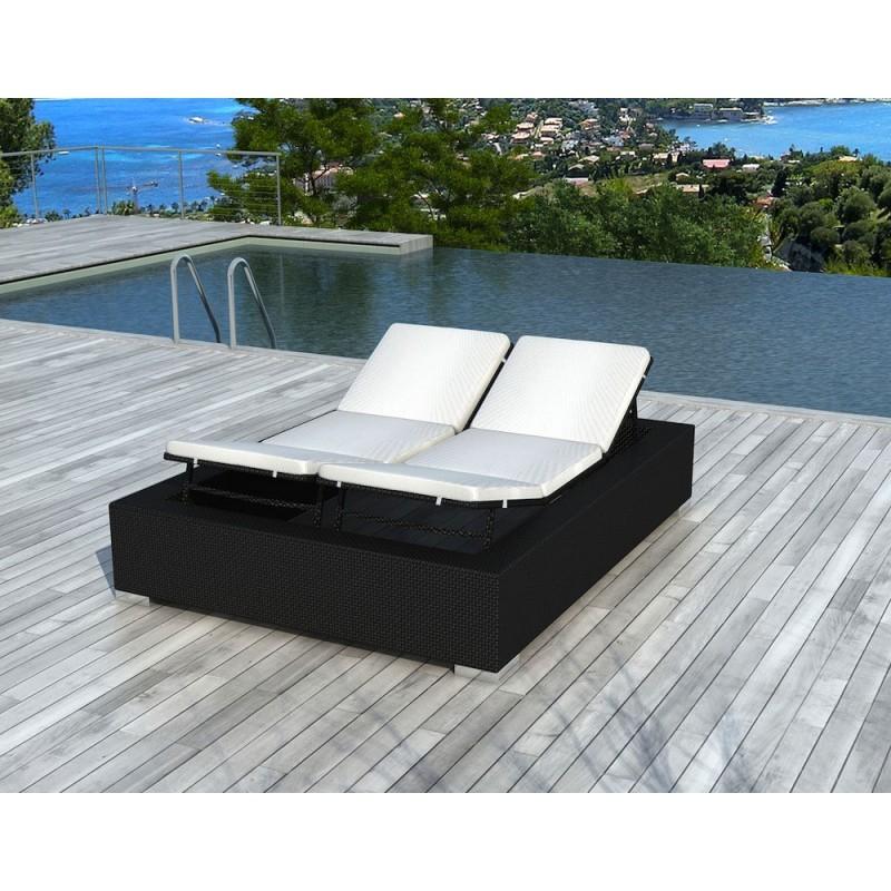 Sunbathing sunbed 2 seater 5 positions Cadiz in woven resin (black, white/off-white) - image 29946