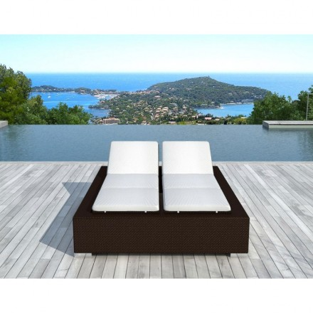 Sunbathing sunbed 2 seater 5 positions Cadiz in woven resin (Brown, white/off-white)