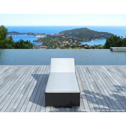 Sunbathing sunbed 5 positions CORDOBA in woven resin (black, white/off-white)