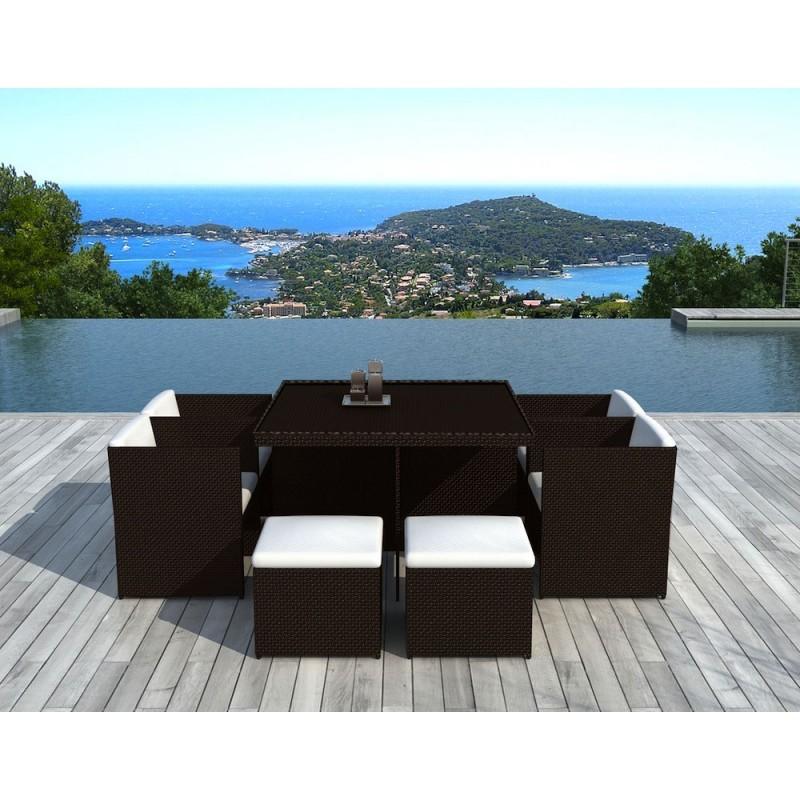 Salon de jardin 8 places encastrable UBEDA en résine tressée (marron, coussins blanc/écru) - image 29960