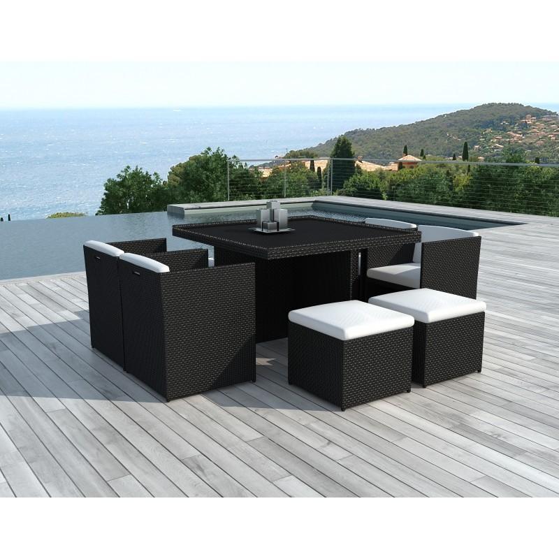 Salon de jardin 8 places encastrable UBEDA en résine tressée (noir, coussins blanc/écru) - image 29966