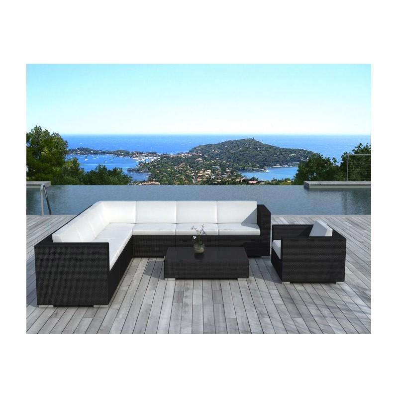Salon de jardin d'angle 8 places OVIEDO en résine tressée (noir, coussins blanc/écru) - image 29968
