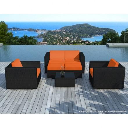 Garden furniture 6 seater KUMBA woven resin (black, orange cushions)