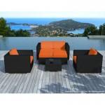 Resina di mobili da giardino 6 posti KUMBA tessuto (cuscini neri, arancione)