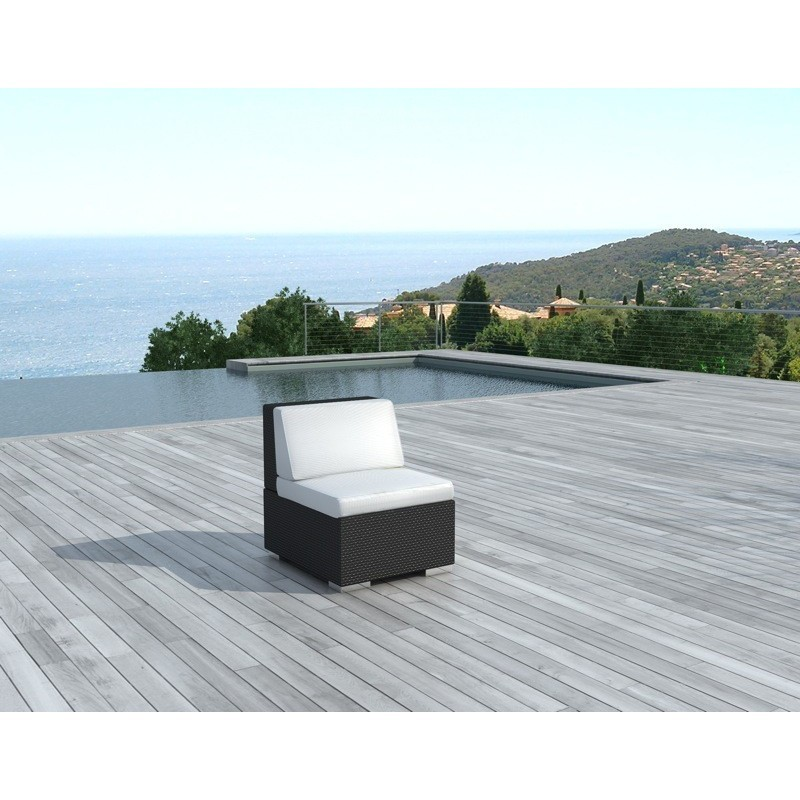 Chauffeuse de jardin SALOU en résine tressée (noir, coussins blanc/écru) - image 29997