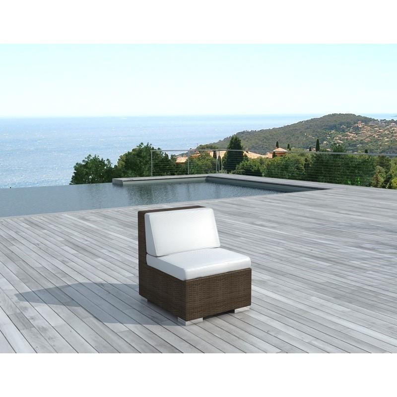 Chauffeuse de jardin SALOU en résine tressée (marron, coussins blanc/écru) - image 30001