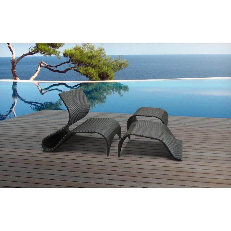 Ensemble transat et table basse de jardin CABO en résine tressée (noir)