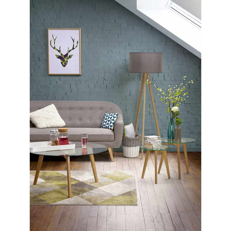 Coffee table style Scandinavian TAROT solid oak and glass - image 30035